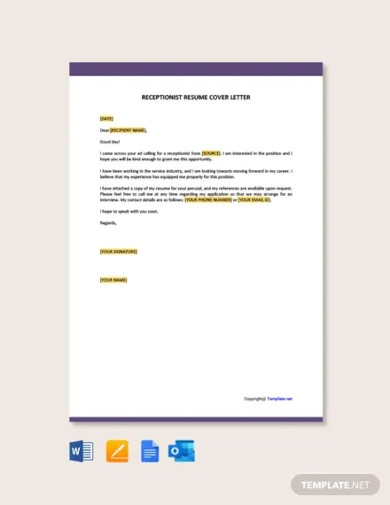 receptionist resume cover letter1