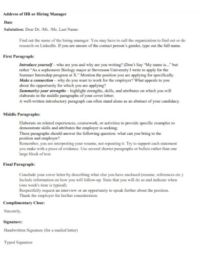 research manager cover letter