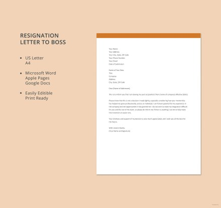 Resignation Letter to Boss
