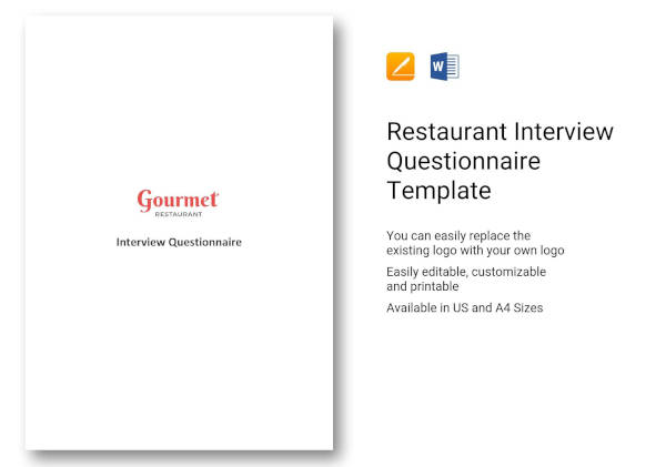 restaurant interview questionnaire template