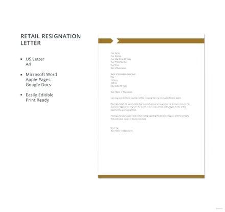 Retail Resignation Letter