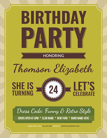 retro birthday flyer