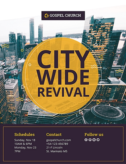 revival in the city church flyer template example