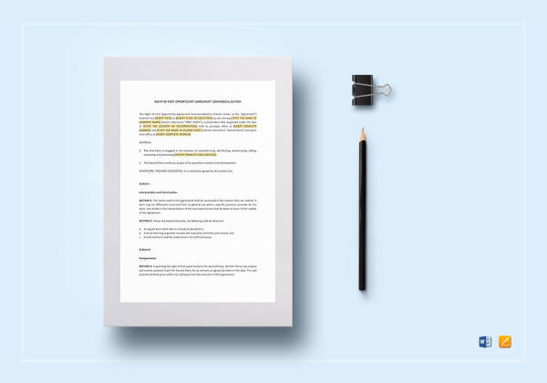 right of first opportunity agreement commercialisation template