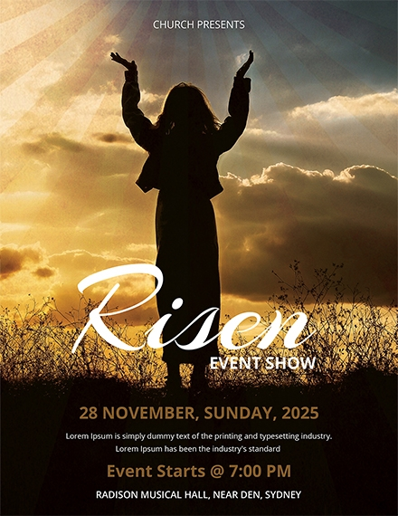 risen church flyer template example