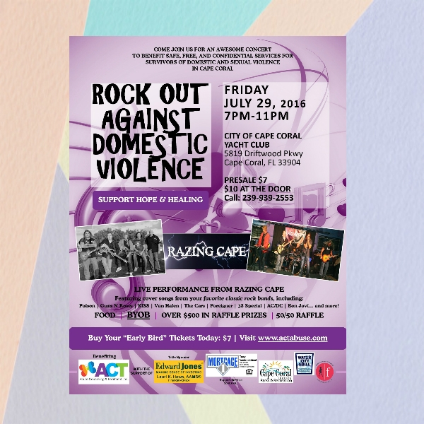 rock out against domestic violence concert flyer