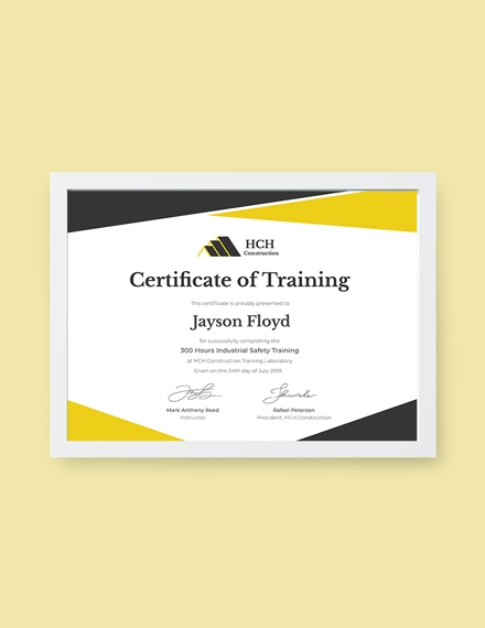 safety training certificate example