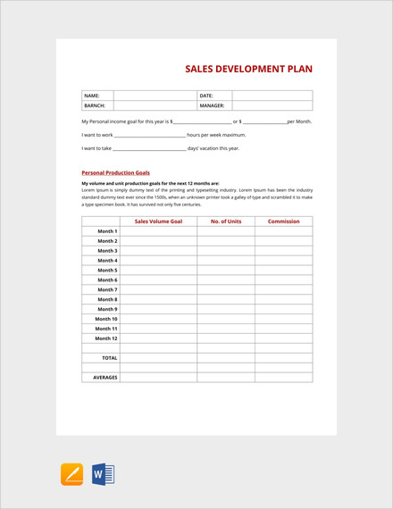 sales development plan template