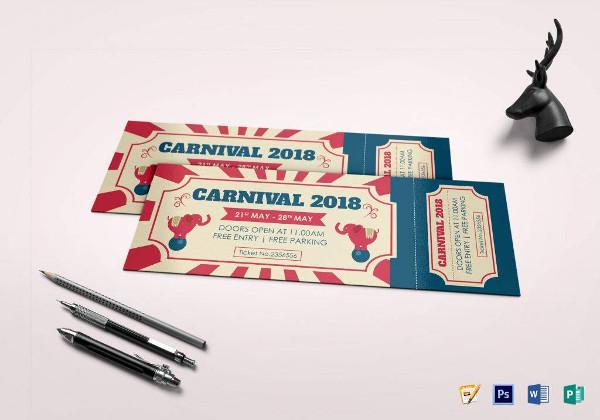 sample carnival ticket word