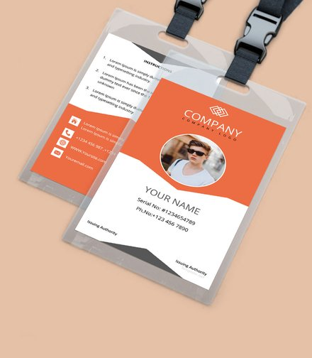 sample company id card template mockup