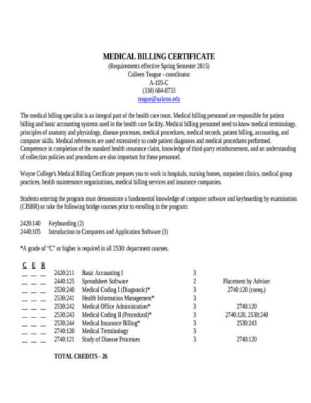 Sample Medical Billing Certificate