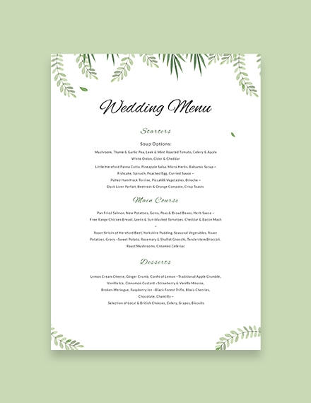 sample wedding menu template