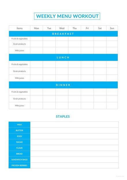 sample weekly menu workout schedule1