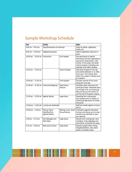 sample workshop schedule