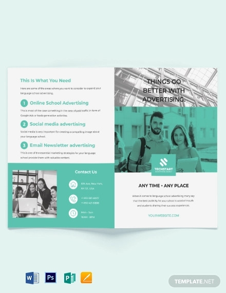 school advertising bi fold brochure template