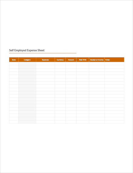 self employed expense sheet template1