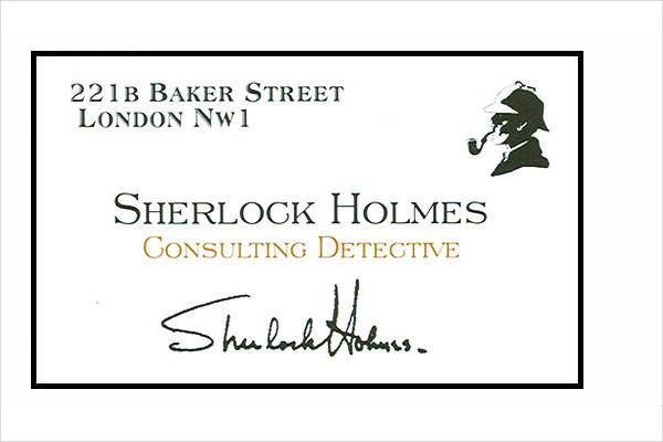 sherlock holmes' business card