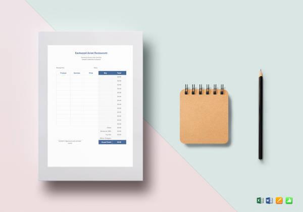 simple blank restaurant receipt template