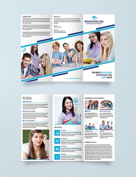Simple Education Tri Fold Brochure Template Example