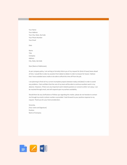 simple leave letter template