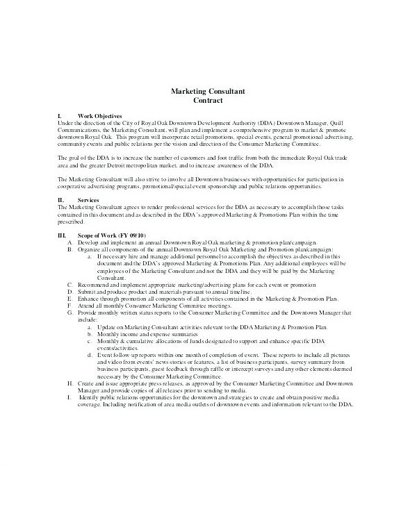 simple marketing consultant contract template example1