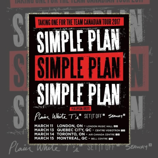 Simple Plan Canadian Tour Music Flyer