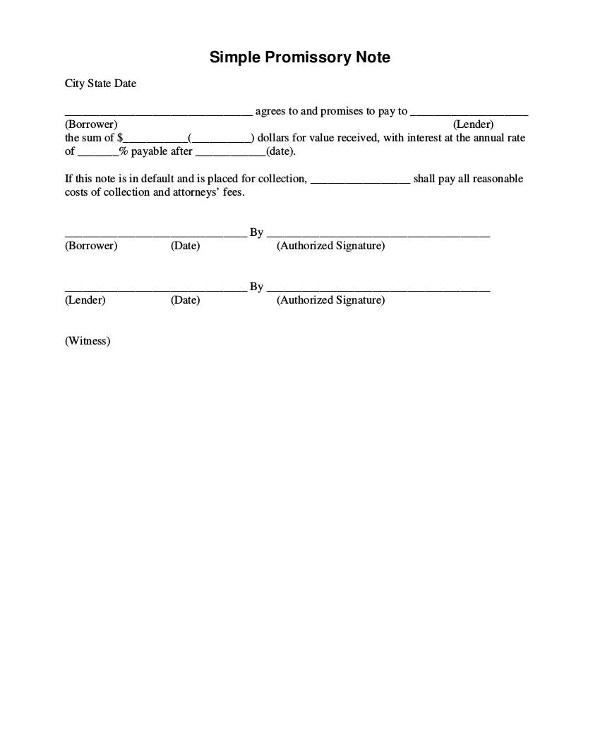 simple promissory note example