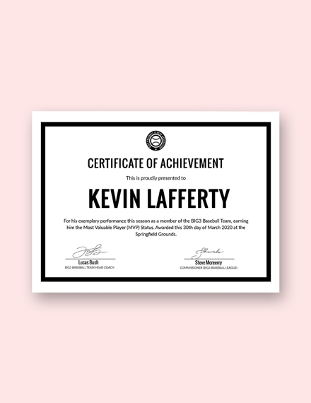 simple sports certificate