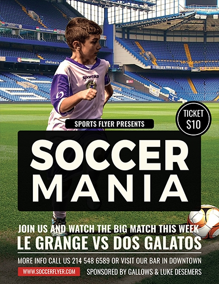soccer mania sports flyer sample