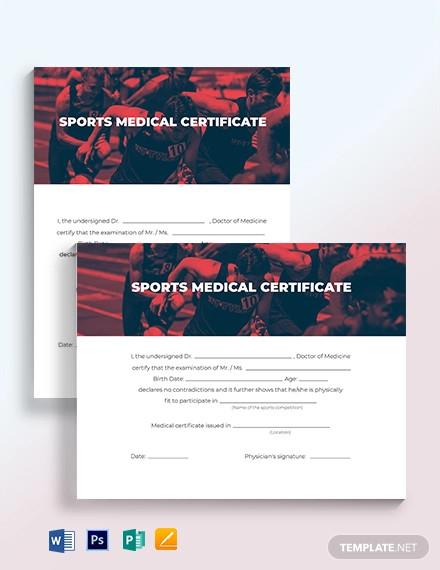 sport medical certificate template