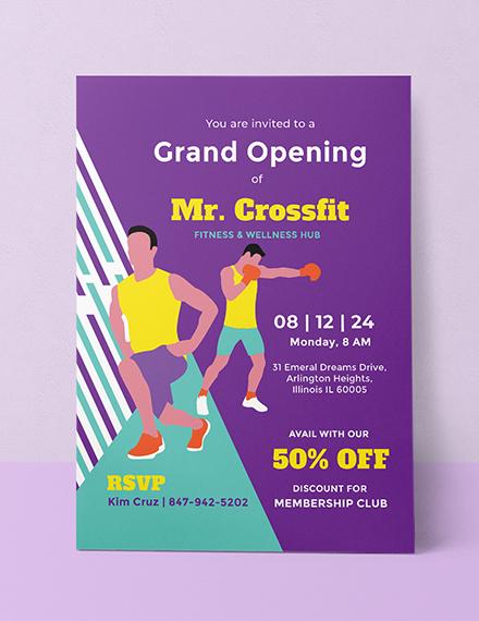 sports gym opening invitation design
