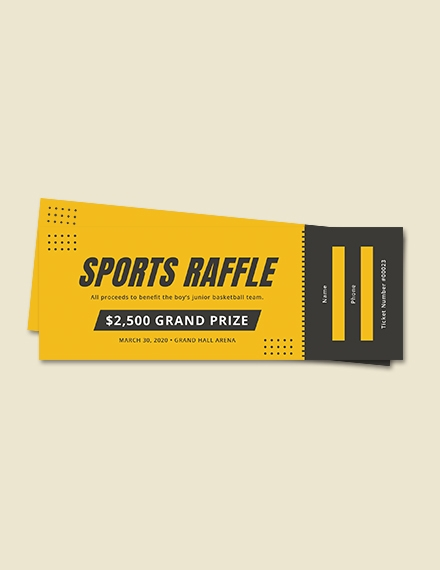 sports raffle ticket sample