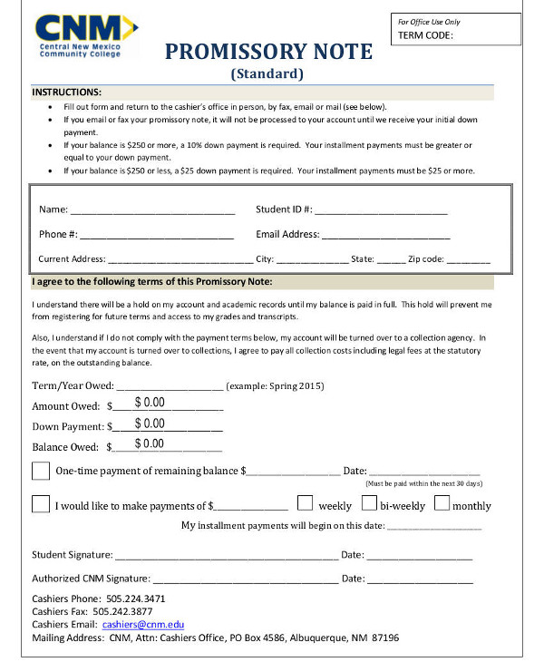 standard promissory note example
