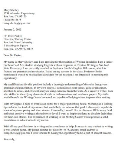 state university cover letter
