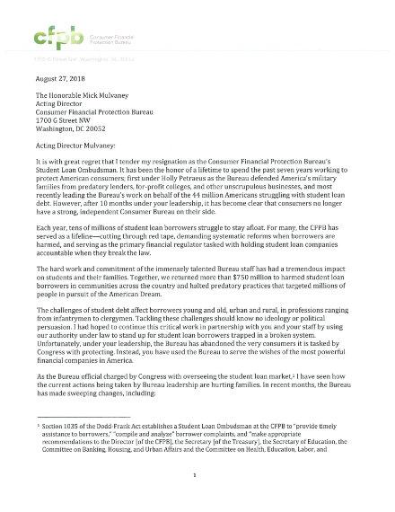 Student Loan Ombudsman Resignation Letter