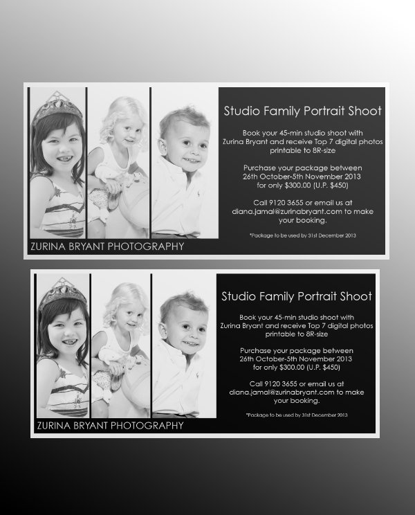 studio family portrait shoot flyer