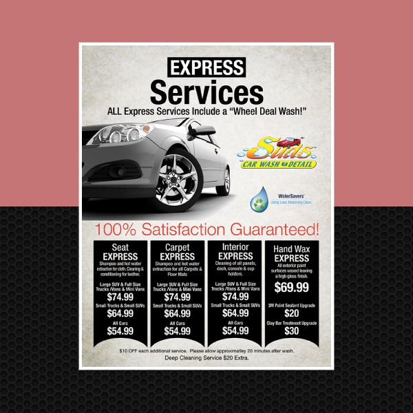 suds car wash and detail flyer