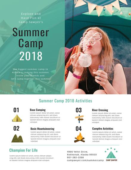 summer camp poster design template