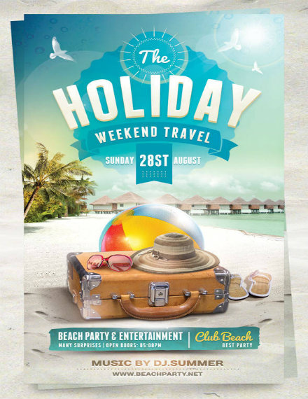 summer holiday travel flyer template