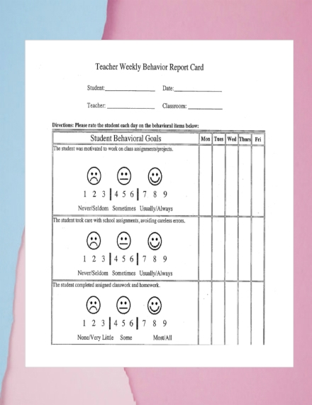 teacher weekly behavior report