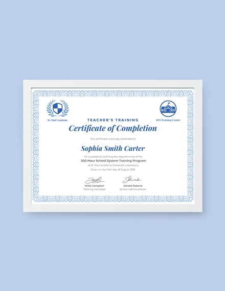 teachers training completion certificate sample