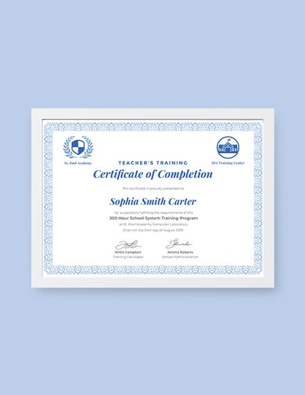 teachers training completion certificate template