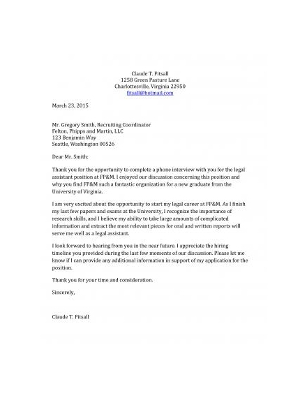 thank you letter for legal assistant job