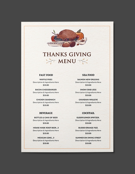 Thanksgiving Dinner Party Menu Template