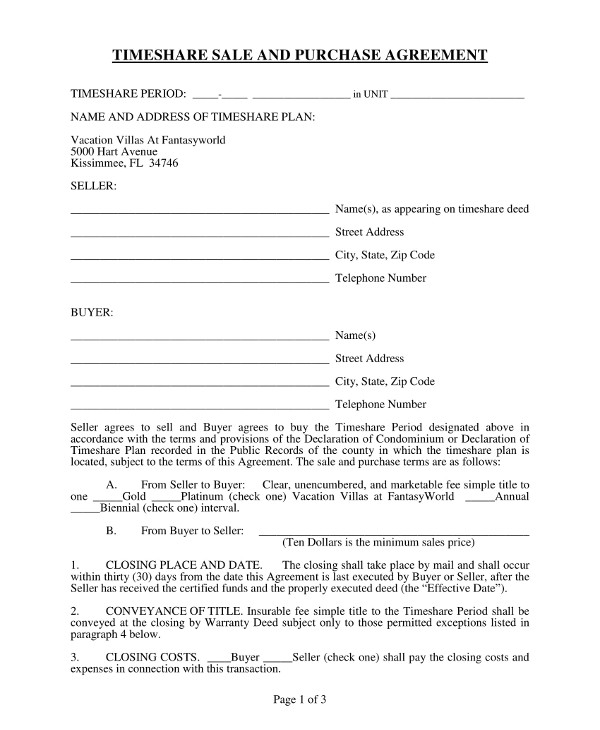 timeshare sale and purchase agreement example