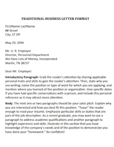 traditional cover letter