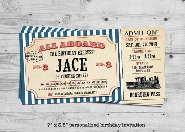 train birthday invitation ticket example1