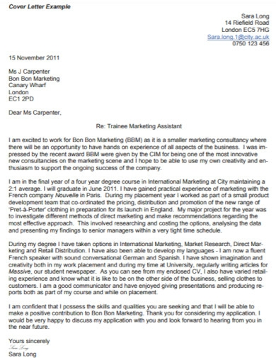 trainee marketing assistant cover letter