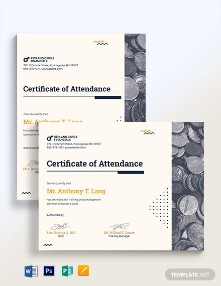training attendance certificate template
