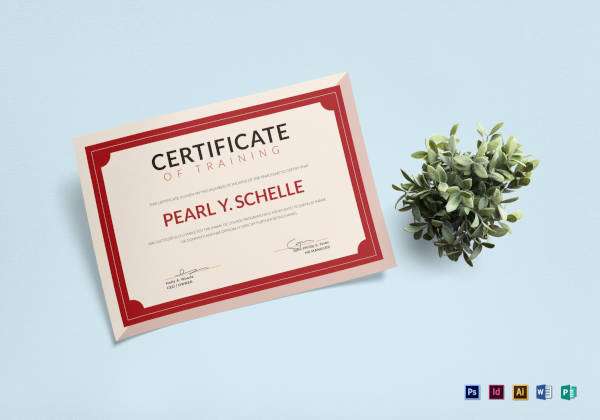 training certificate template